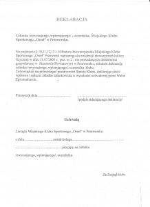 deklaracja członkowska MKS Orzeł